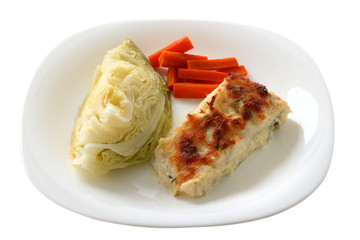 codfish baked with cheese and vegetables