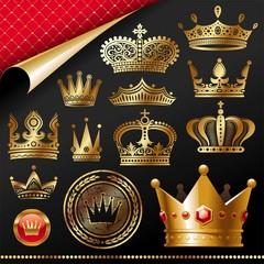 Ornate golden royal crowns - vector set