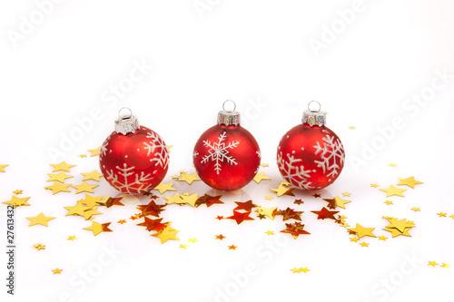 Weihnachtskugel Christbaumschmuck Rot Sterne Stock Photo And