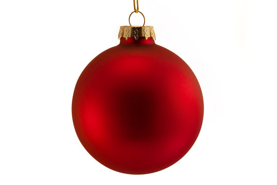 single red bauble isolated over white