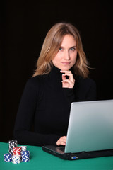 Woman gambling on internet