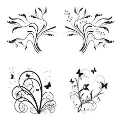 Set of floral design elements