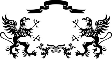 stencil framework: griffins with a ribbon and a branch