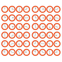 Red Cartoon Clocks Showing All 12 Hours at 15 Minute Intervals