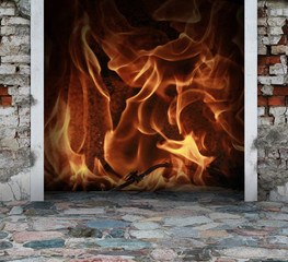 stone floor with fire and flames