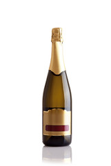 Champagne bottle isoalted against a white background