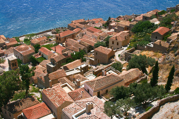 View from hill in Monemvasia, Greece