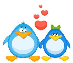 Vector pair of cartoon penguins in love