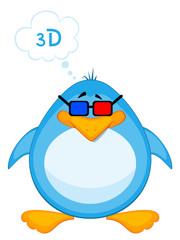 Vector cartoon penguin in 3d-glasses