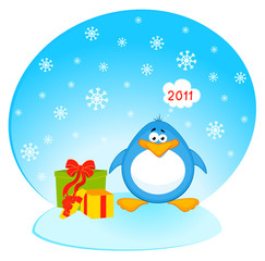 Vector cartoon penguin with gifts