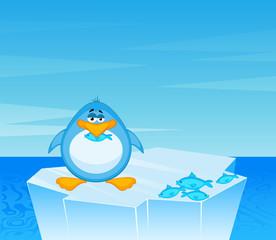 Vector cartoon penguin on an iceberg in an ocean