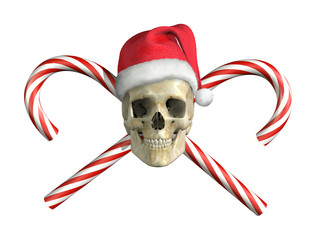 Christmas Skull with Cross Canes - 3D render