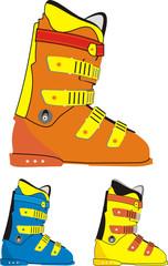 Ski sports boot colors set.