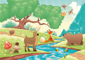 Foto op Plexiglas Rivier, meer Animals in the wood. Vector landscape, isolated objects.