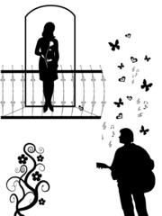 Silhouettes of  girl on a balcony and young men