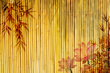 Wall Mural - lotus and bamboo background .