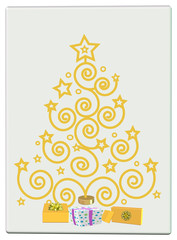 Card ,gold tree with gift