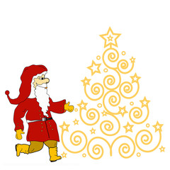 Christmas tree  and Santa Claus, place for text, isolated