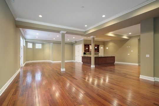 Basement with kitchen in new construction home