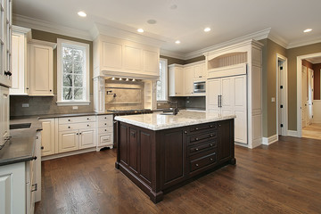 Kitchen with wood and granite island
