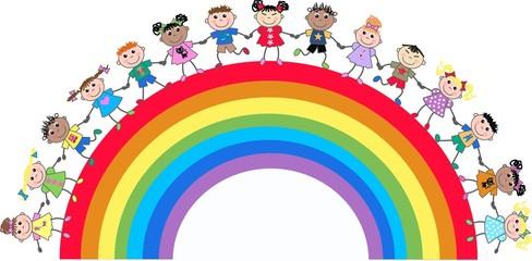 Poster Regenboog mixed ethnic kids