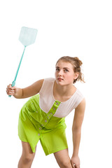 woman with fly swatter