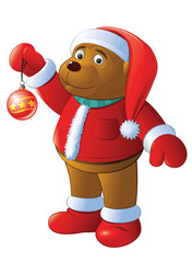 bear-cub is in the suit of Santa, with toy