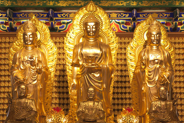 Golden three Buddha in dragon temple,Thailand