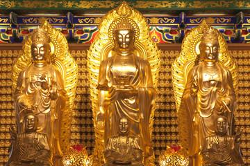 Golden three Buddha in dragon temple,Thailand