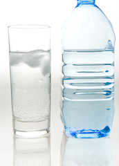 Bottle of fresh mineral water and a glass
