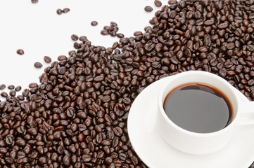 coffee cup on coffee bean background
