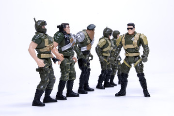 Collection of toy soldiers in camouflage