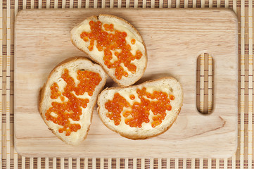bread, butter and red caviar