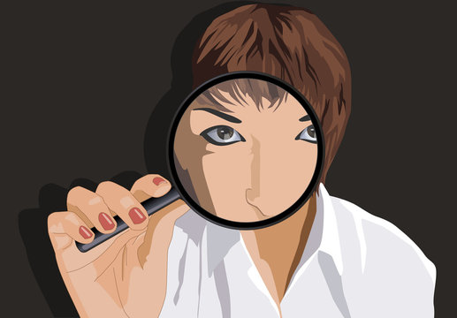 Frau mit Lupe, Woman with magnifying glass