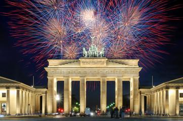 Poster Berlin Feuerwerk am Brandenburger Tor