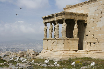 The Porch of Maidens atop Acropolis in Athens, Greece