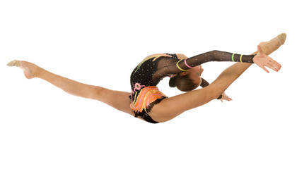gymnast jumping in the splits