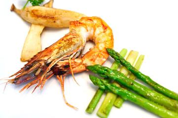 Fried Prawn with Asparagus