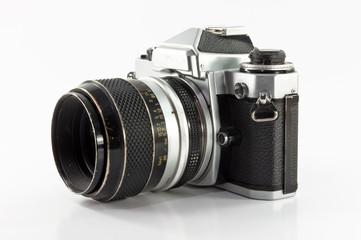 old photo camera isolated on white background .