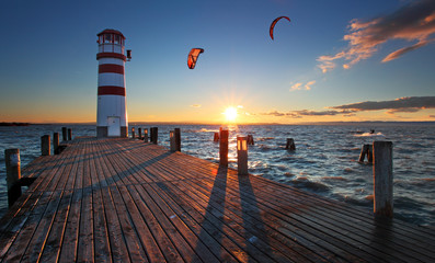 Lighthouse in Lake Neusiedl at sunset - Lower Austria - fototapety na wymiar