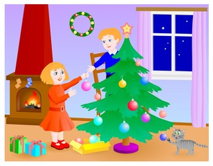 children preparing the christmas tree