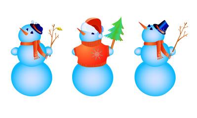 Vector illustration of three color snowmen