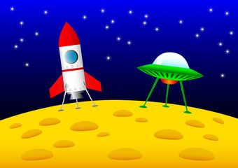 Rocket and UFO on the Moon