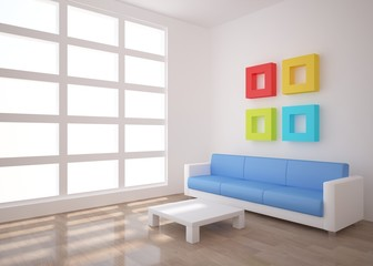 white interior with colored frames