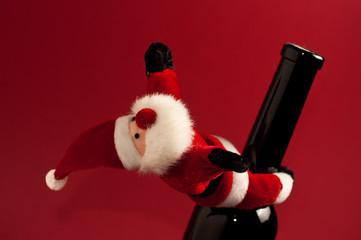 Weihnachtsmann an der Flasche