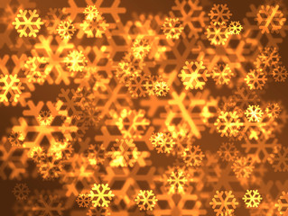 Festive golden snowflakes background.