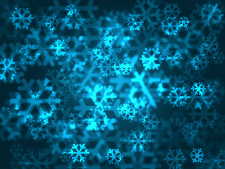 Festive blue snowflakes background.
