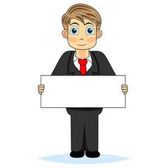 Cute boy businessman holding blank sign