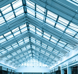 modern roof inside office center