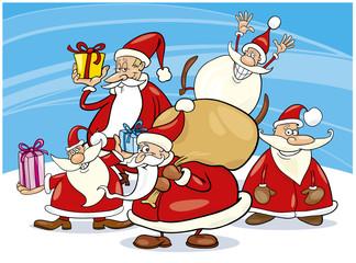five santa clauses